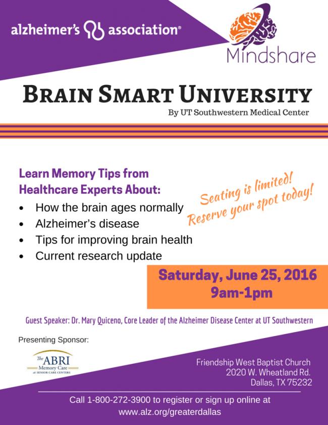 Alzheimer's Association Brain Smart Institute announcement in Dallas, TX